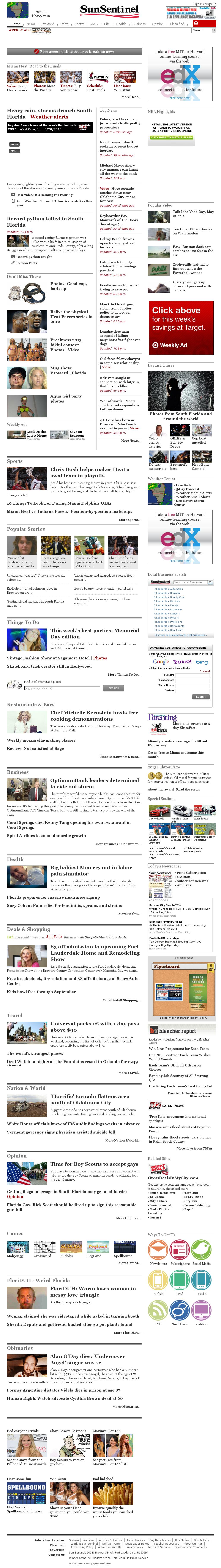 (Florida) Sun Sentinel at Tuesday May 21, 2013, 12:23 a.m. UTC