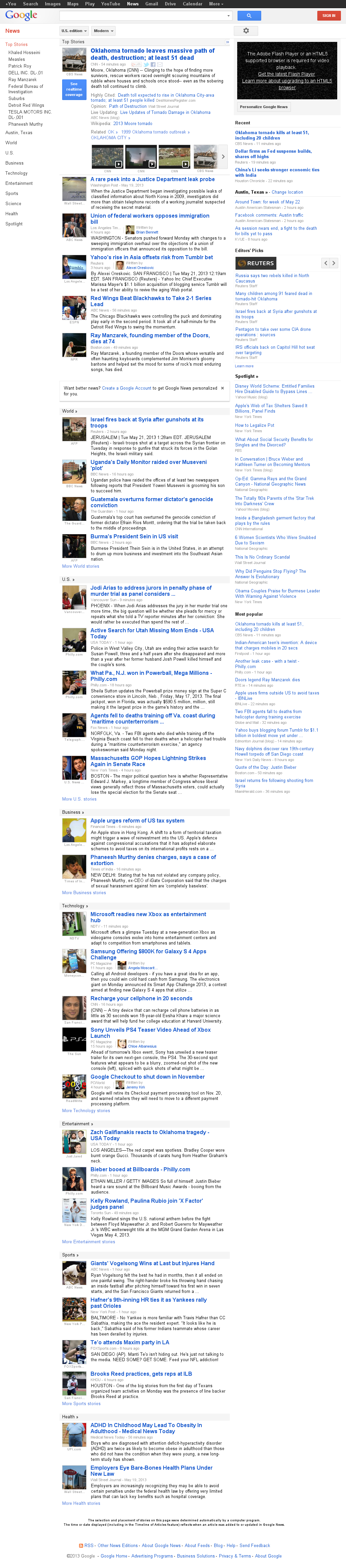 Google News at Tuesday May 21, 2013, 8:07 a.m. UTC
