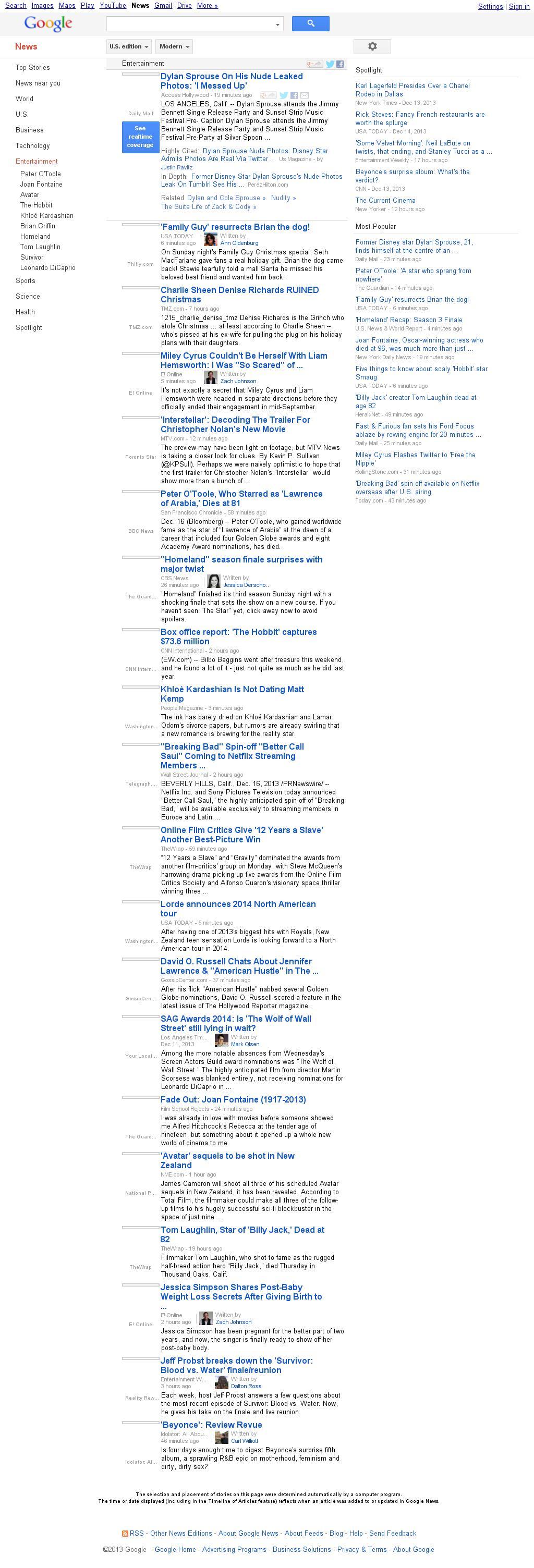 Google News: Entertainment at Monday Dec. 16, 2013, 5:06 p.m. UTC