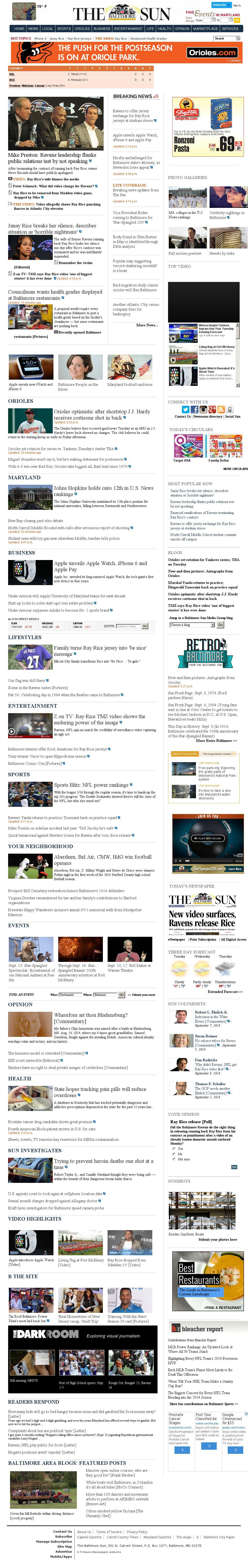 The Baltimore Sun at Tuesday Sept. 9, 2014, 11 p.m. UTC