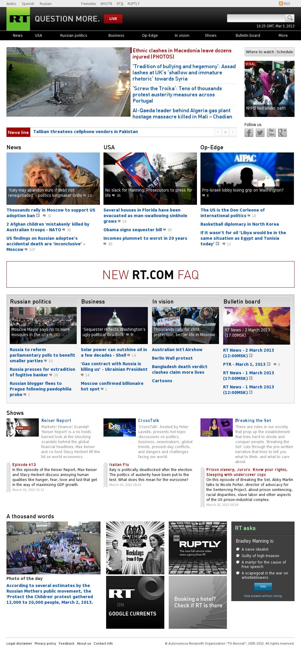 RT at Sunday March 3, 2013, 10:25 a.m. UTC