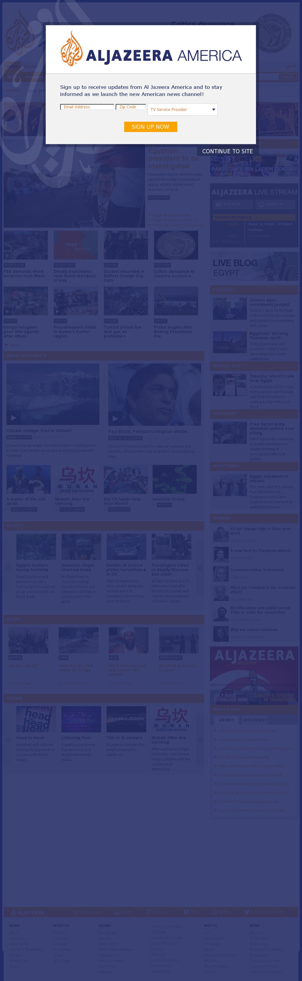 Al Jazeera (English) at Sunday July 14, 2013, 1:09 a.m. UTC