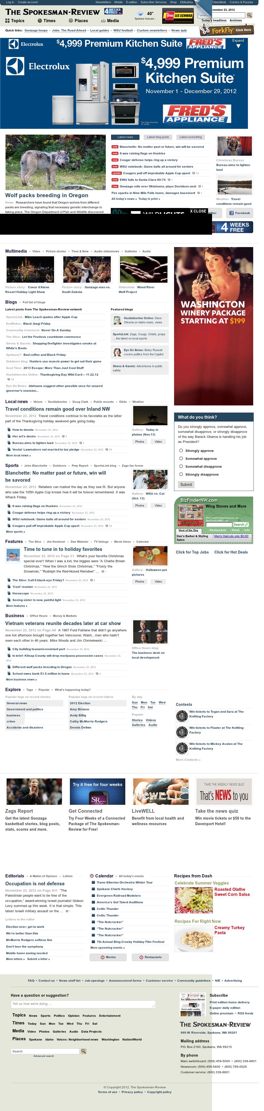 The (Spokane) Spokesman-Review at Saturday Nov. 24, 2012, 5:30 a.m. UTC