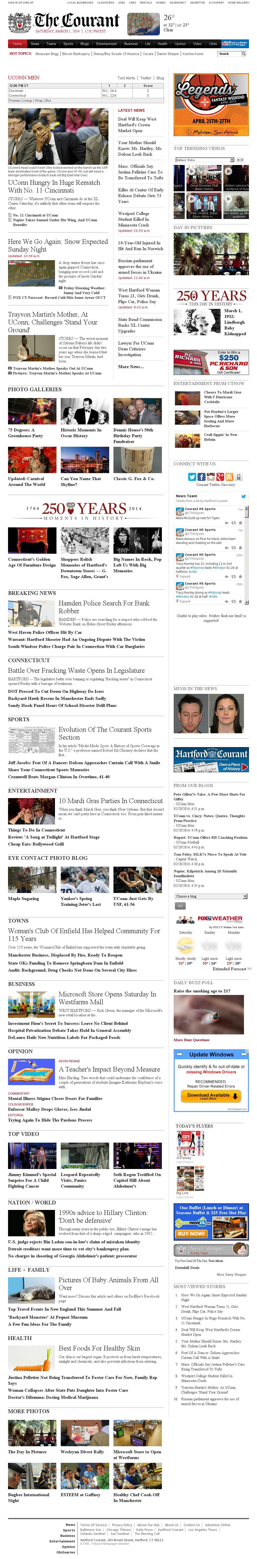Hartford Courant at Saturday March 1, 2014, 5:07 p.m. UTC