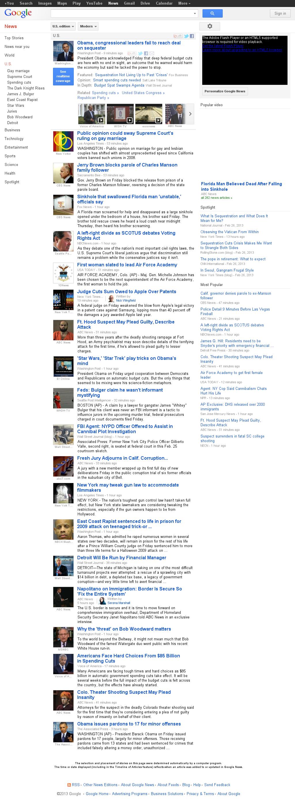 Google News: U.S. at Saturday March 2, 2013, 2:09 a.m. UTC