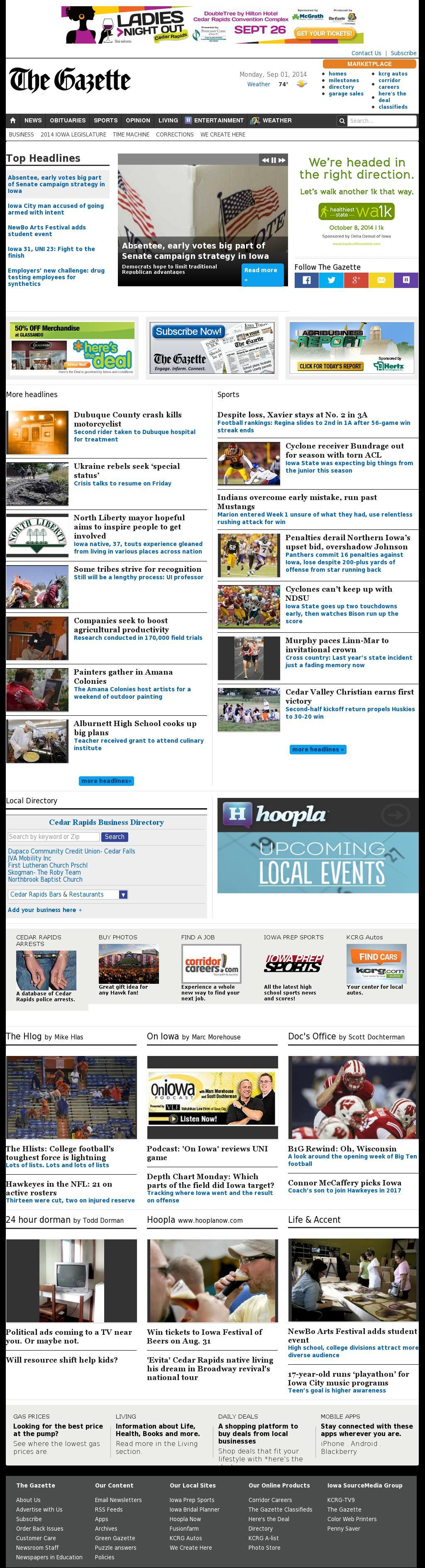 The (Cedar Rapids) Gazette at Tuesday Sept. 2, 2014, 1:07 a.m. UTC