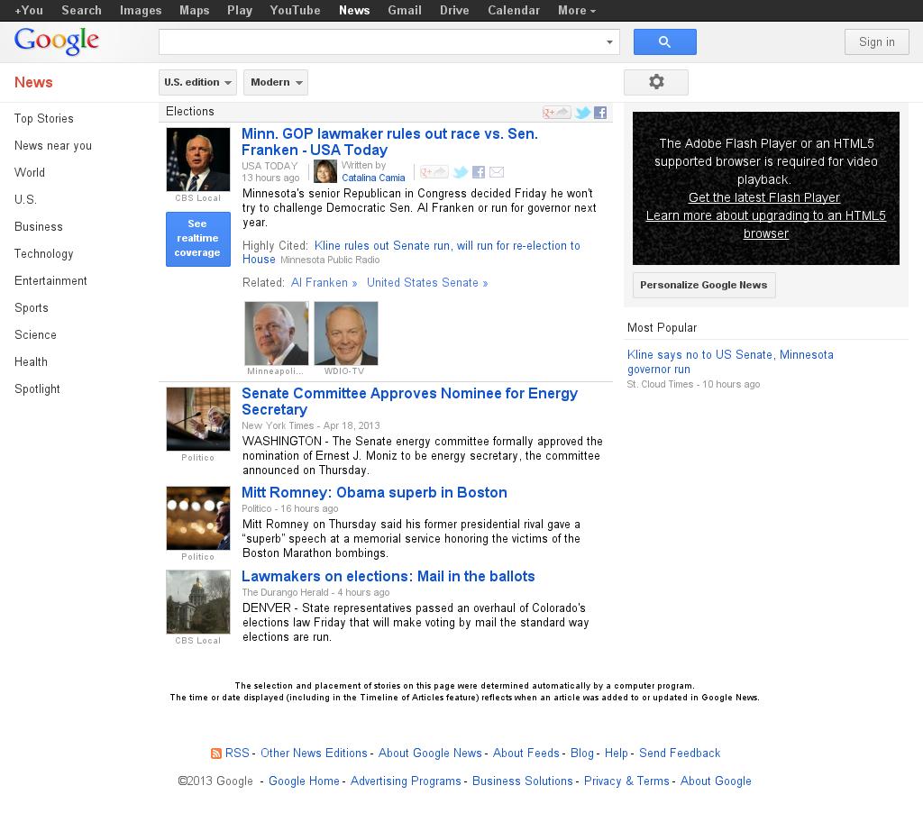 Google News: Elections at Saturday April 20, 2013, 10:07 a.m. UTC