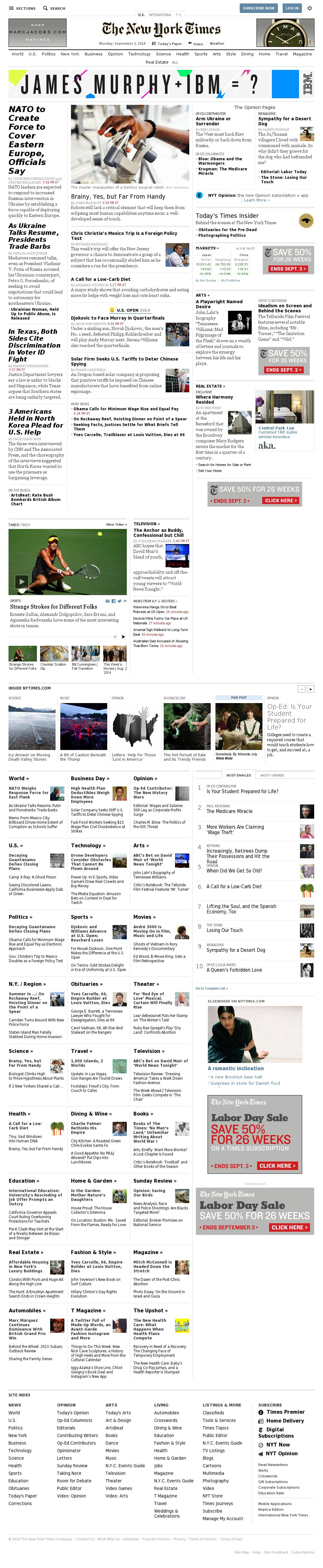 The New York Times at Tuesday Sept. 2, 2014, 1:13 a.m. UTC