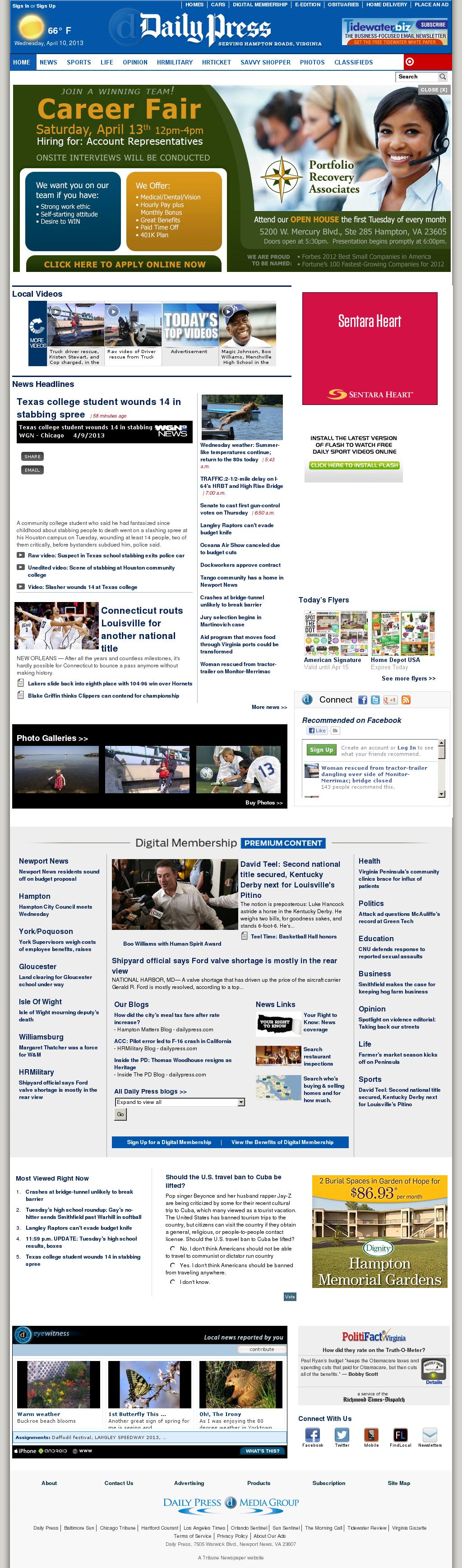 (Hampton Roads) Daily Press at Wednesday April 10, 2013, 12:04 p.m. UTC