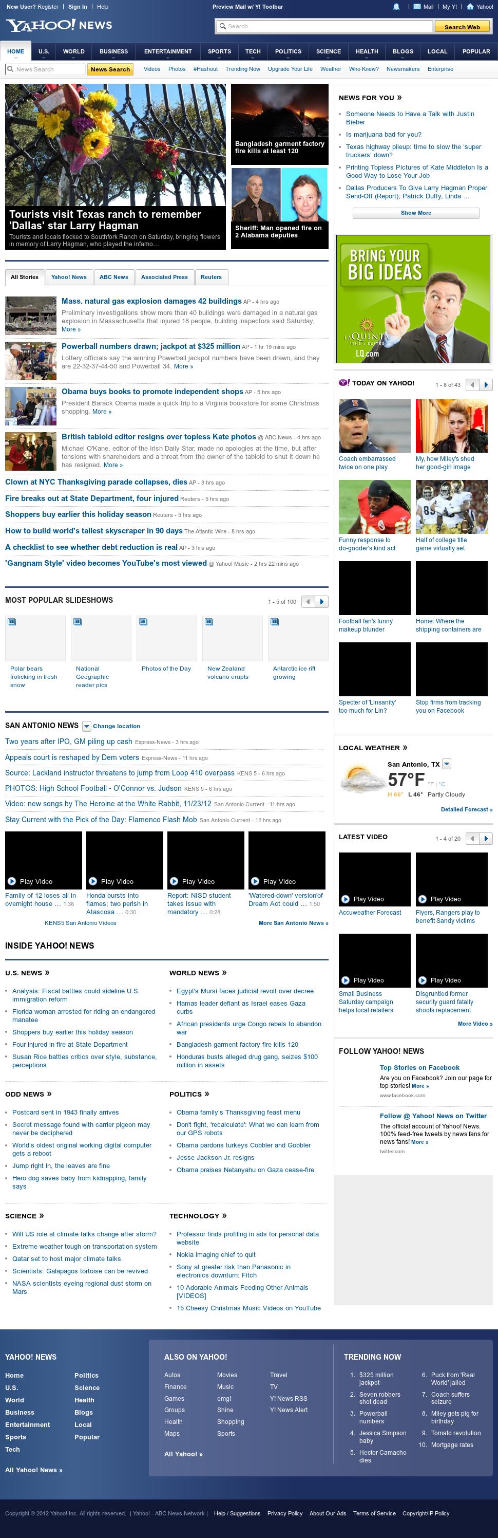 Yahoo! News at Sunday Nov. 25, 2012, 6:37 a.m. UTC