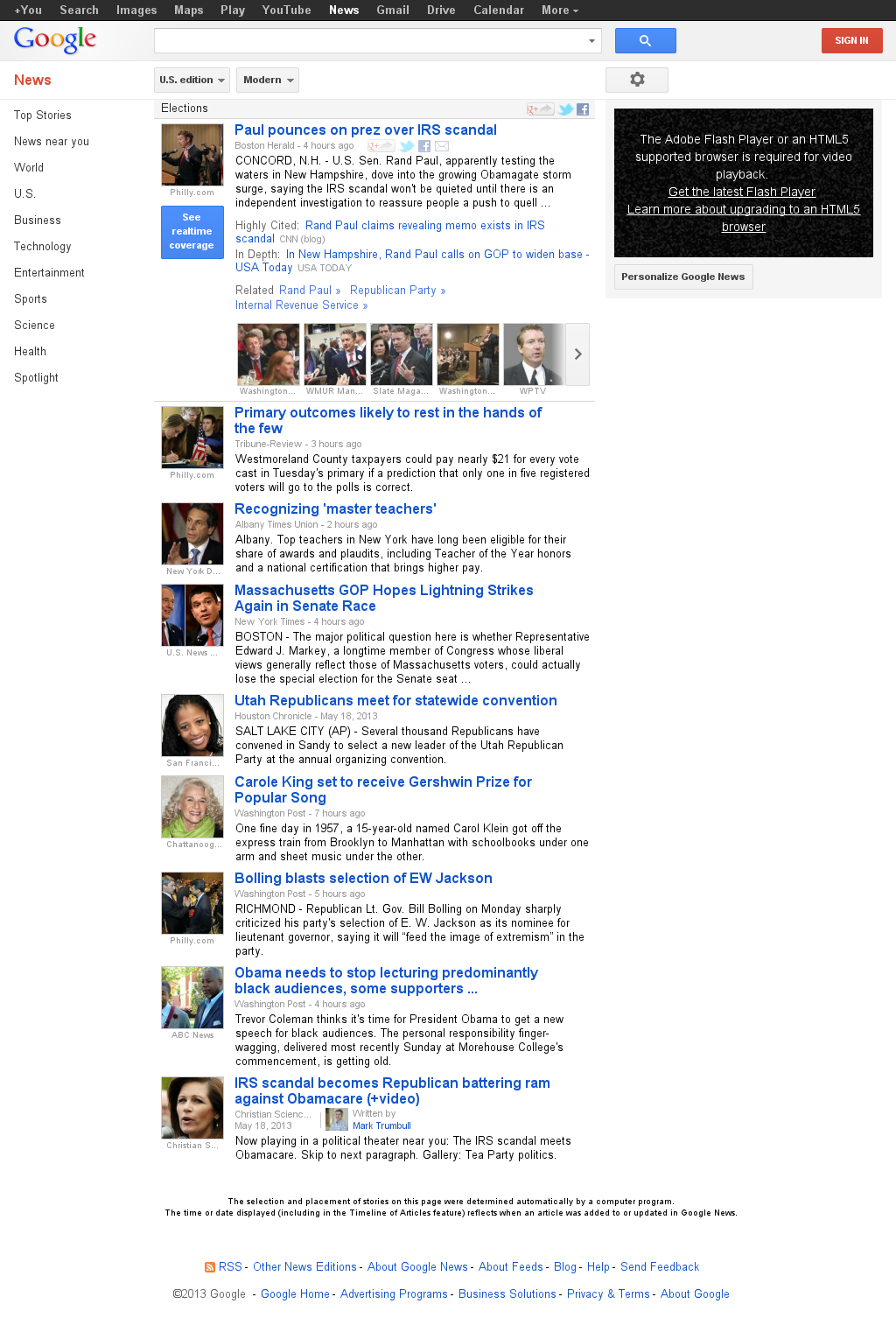 Google News: Elections at Tuesday May 21, 2013, 8:07 a.m. UTC