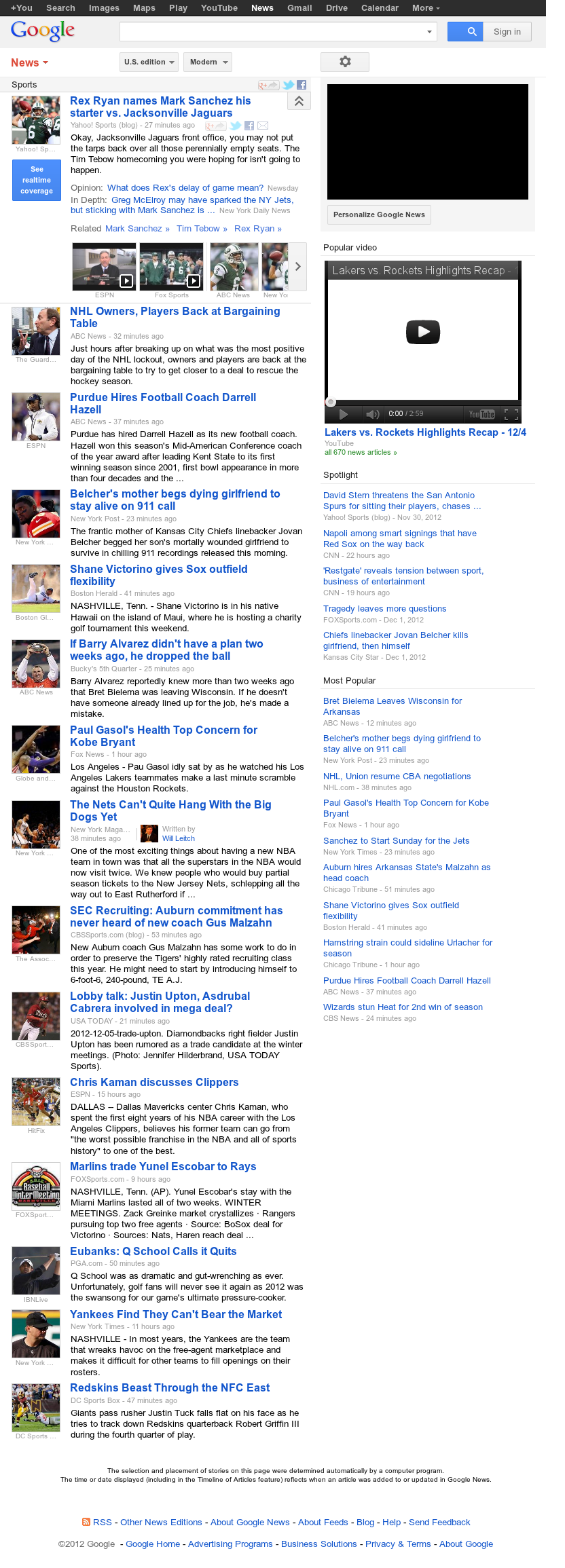 Google News: Sports at Wednesday Dec. 5, 2012, 3:18 p.m. UTC
