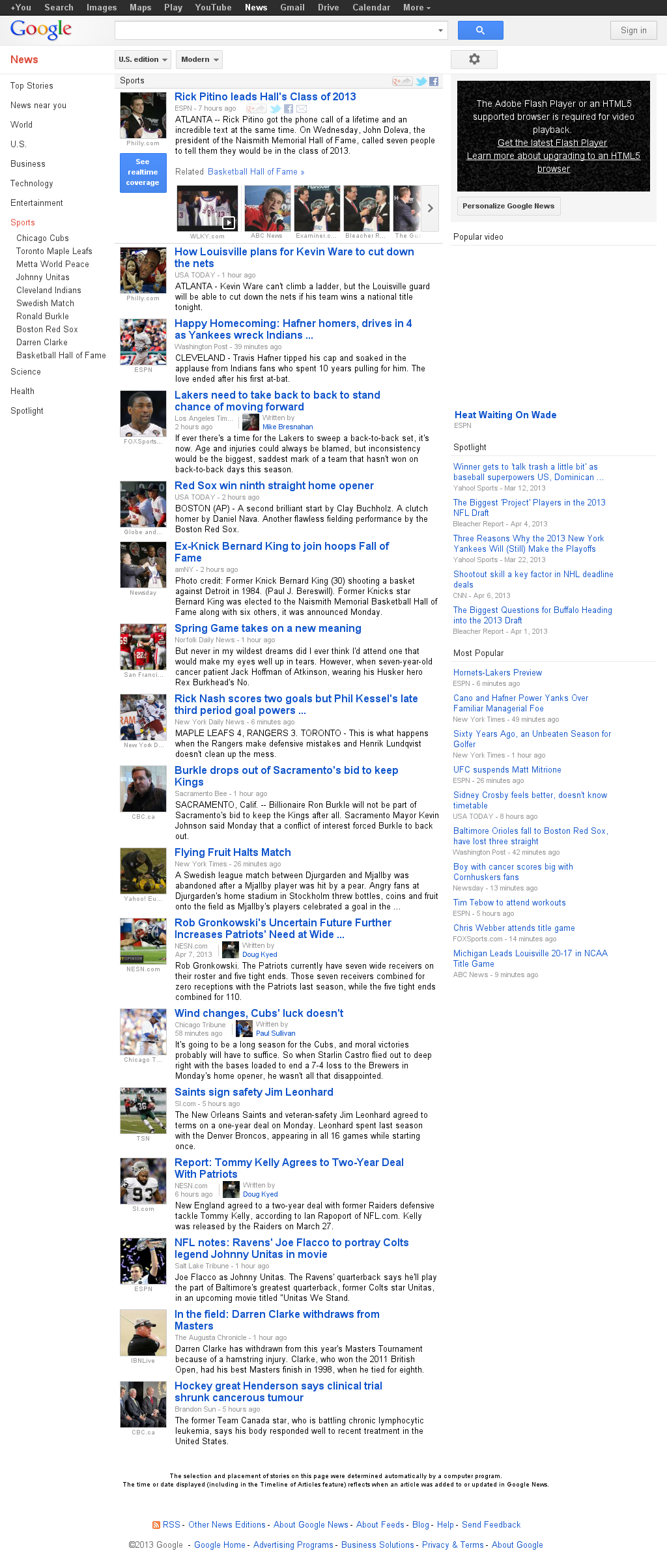 Google News: Sports at Tuesday April 9, 2013, 2:08 a.m. UTC
