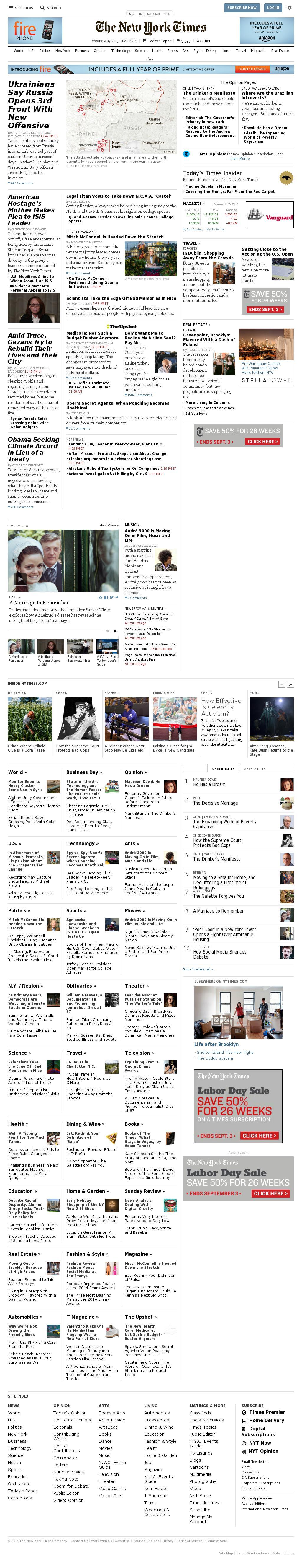 The New York Times at Wednesday Aug. 27, 2014, 10:12 p.m. UTC