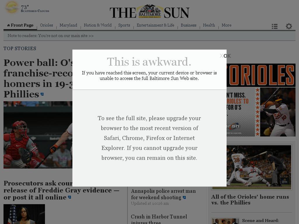 The Baltimore Sun at Wednesday June 17, 2015, noon UTC