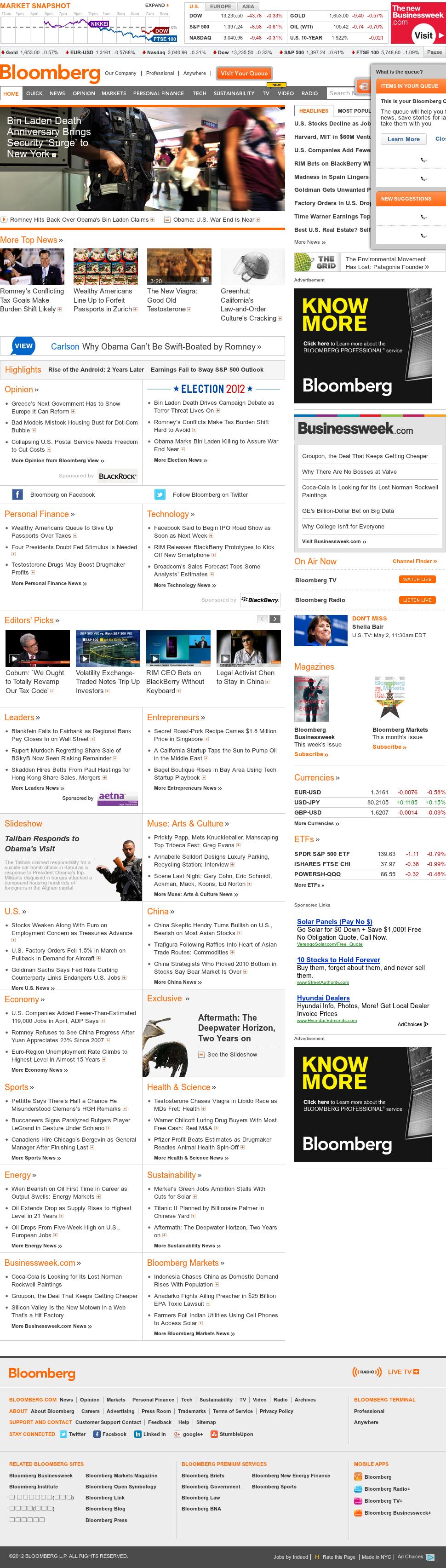 Bloomberg at Wednesday May 2, 2012, 3 p.m. UTC
