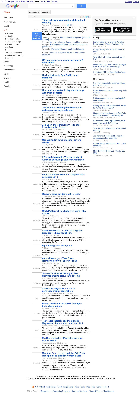 Google News: U.S. at Sunday Oct. 26, 2014, 8:06 p.m. UTC