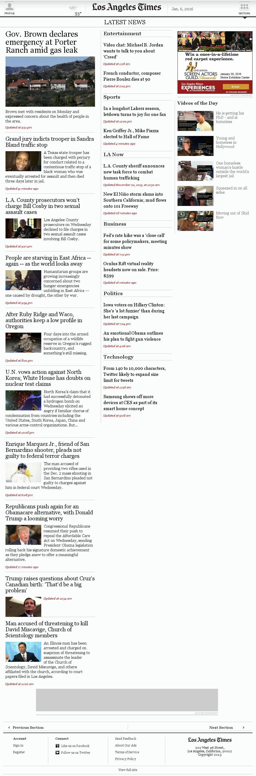 Los Angeles Times at Wednesday Jan. 6, 2016, 11:14 p.m. UTC