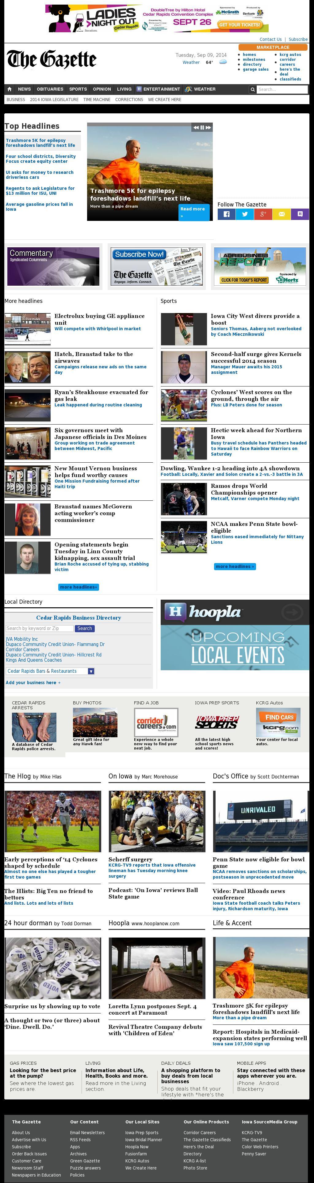 The (Cedar Rapids) Gazette at Tuesday Sept. 9, 2014, 2:06 p.m. UTC
