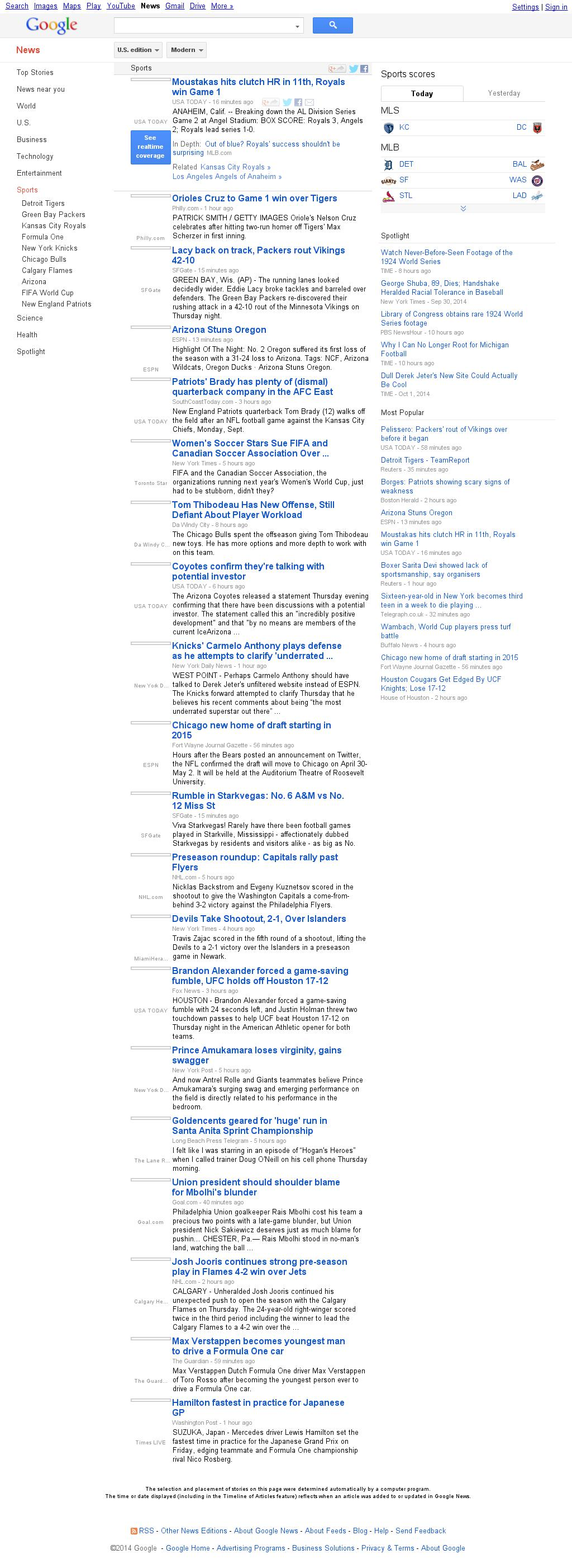 Google News: Sports at Friday Oct. 3, 2014, 8:05 a.m. UTC