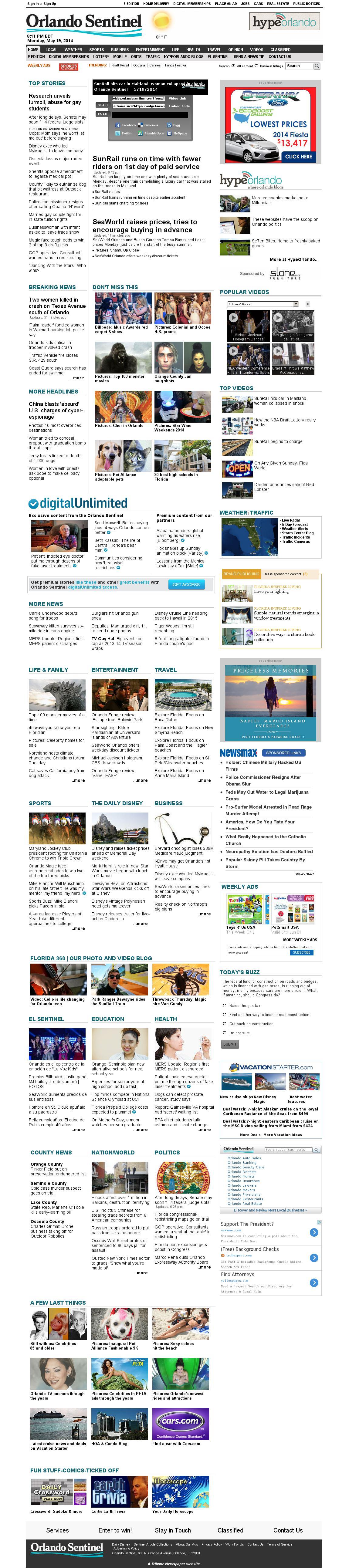 Orlando Sentinel at Tuesday May 20, 2014, 12:17 a.m. UTC